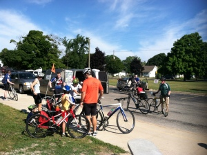 Starting line of Michigander 2013, Saturday morning in Charlevoix, MI.