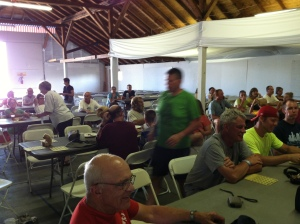 Riders play BINGO at last night's overnight stop in Gaylord, MI.