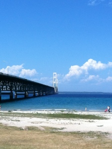 A beautiful view of the Mackinac Bridge!